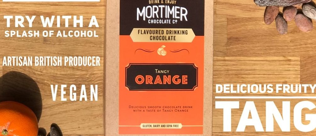 250g box of Tangy Orange Drinking Chocolate for a delicious smooth chocolate drinke with a taste of tangy orange